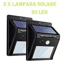 2x LAMPADA LUCE FARETTO ESTERNO 20 LED ENERGIA SOLARE SENSORE MOVIMENTO OSCURITà