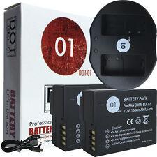 2x DOT-01 Batteries and USB Charger for Panasonic DMC-G7 Batteries for G7