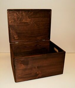 Deep Dark Walnut Brown Wooden Storage Box Dyed Strong L40 W30 D25cm RUSTIC Crate