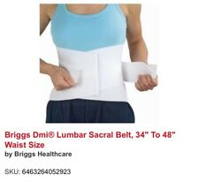 "Briggs DMI Orthopedic Lumbar Sacral Support Belt White - Waist 34""-48"" NIP"
