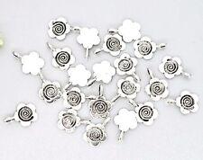25 Pcs -  Tibetan Silver Flower Glue on Bails Pendant Cabochon Beading N55