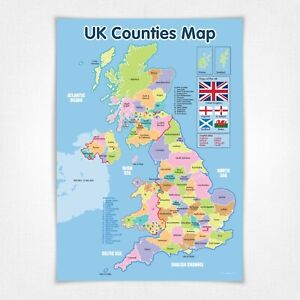 A3 UK Counties Map Laminated A3 Poster
