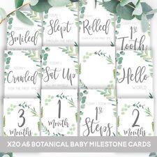 BABY MILESTONE CARDS Botanical Boho Baby's 1st Year Memories Moments Baby Shower