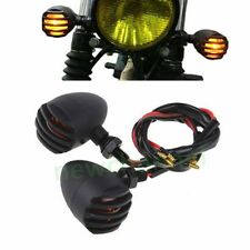 2x Black Motorcycle Turn Signals Mini Bullet Blinker Amber Indicator Light Lamp