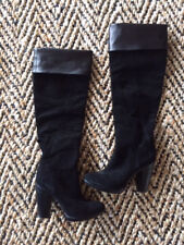 $1230 COSTUME NATIONAL Black Genuine Leather Suede Boots Made in Italy Size 6