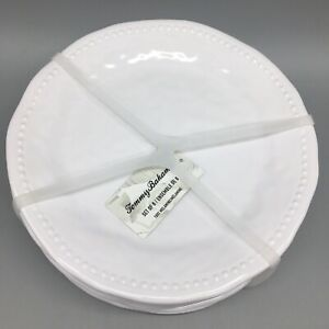 "8pc Tommy Bahama Melamine Salad Plate Set White Wave Hobnail Dotted Edge 9"" NEW"