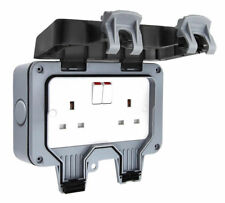 New Waterproof Outdoor 13A 2Gang Storm Switched Socket Double IP66 Outside Use