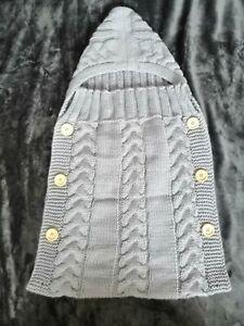 Schlafsack Strick / Strickware Fußsack Kinderwagen grau Babyschlafsack Pucksack
