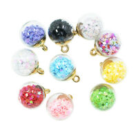 10xColor Glass Ball Star Charms Pendant Finding for Hair Jewelry Accessories