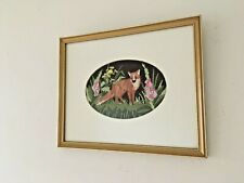 More details for vintage framed mounted cross stitch rural countryside fox scene picture