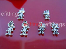 20Pcs Tibetan Silver Boy and Girl Charm Pendant Beads Jewelry Making