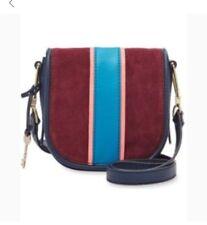 FOSSIL RUMI Blue/Cabernet Crossbody Handbag Saddle Leather/Suede ZB7393607 $198