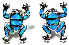 Blue Fire Opal Inlay Genuine 925 Sterling Silver Frog Stud Post Earrings