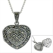 925 Silver Marcasite Puffed Heart Locket Pendant, 18""