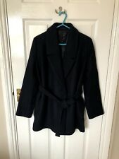 Ladies COS Black/Navy belted Mid length Coat JACKET  Great Condition