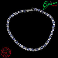 Oval 4x3mm Blue Tanzanite Cz 14k White Gold Plate 925 Sterling Silver Bracelet 8
