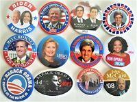 12 Presidential  Campaign Buttons Biden Trump Obama Romney Kerry etc  SET 22BB