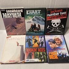 6 extreme sports DVD lot snowboard mayhem, Point Break, Jackass Number Two