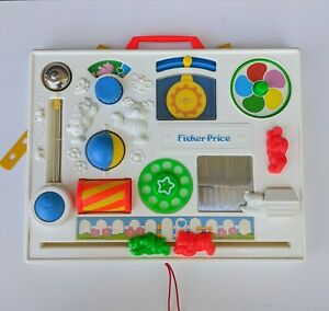 VINTAGE 1988 Fisher Price Activity Center Busy Box Baby Crib Toy Complete Works