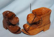 hand carved folk art shoes wooden work boot laces set of two