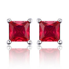 Jewelrypalace Square 0.8ct Created Red Ruby 925 Sterling Silver Stud Earrings