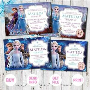 'YOU PRINT' FROZEN 2 Elsa Anna Birthday Invitations Invites Party Digital Photo
