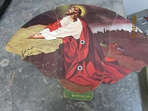 vintage religious diecut cardboard pull out fan Jesus praying