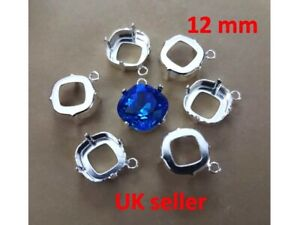 2 x12mm Square Base Cup Pendant Claw Settings with Loop Crystal 4470 Fancy Stone
