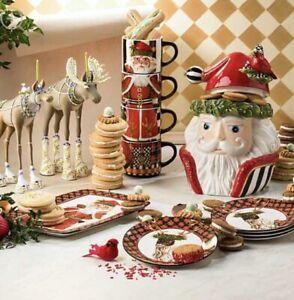 Mackenzie Childs Santa's Reindeer Dessert Plate & Mug Set Service for 8 (16 Pcs)