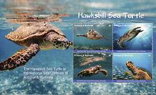 Antigua & Barbuda 2017 MNH Hawksbill Sea Turtle 4v M/S I Turtles Reptiles Stamps