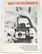 Polaroid Colorpack III Instant Film Land Camera Manual Instructions Guide 1970s