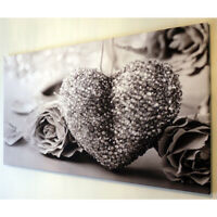 45*80cm BLACK AND WHITE HEART CANVAS WALL ART PICTURE Print Modern Home Decor AU