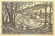 COUNTRY FALL FARM SCENE Wood Mounted Rubber Stamp Impression Obsession J2505 NEW