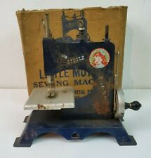 Vintage Blue Little Mother Tin Hand Cranked Toy Sewing Machine 1940s