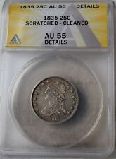 """1835 Capped Bust Quarter """"ANACS AU55 Scratched-Cleaned"""" *Free S/H After 1st Item"""