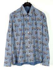 LOUIS VUITTON 2017 NWT Blue CHAPMAN Lion Print Cotton Dress Shirt 4L XXL