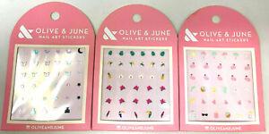 (3) Olive & June Nail Art Stickers Assorted Stickers Unique Set No Repeats