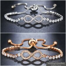 Adjustable Infinity 8 Bracelet Silver Gold Crystal Jewellery Charm Bangle GIFT