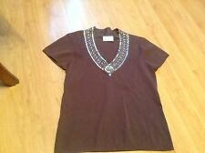 BNNT BEAUTIFUL LADIES TAUPE HEAVILY EMBELISHED V NECK JUMPER by WALLIS SIZE 14