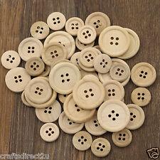 50 misto bottoni taglia-legno naturale-Round-SCRAPBOOKING-CUCITO FAI DA TE -