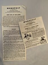 MONOPOLY Board Game replacement Parker Brothers 1961 Short + Instructions only