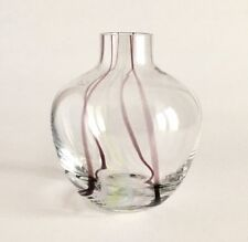 CAITHNESS CRYSTAL VASE, WITH FINE TRAILS OF PALE PINK, PASTEL GREEN AND BROWN.