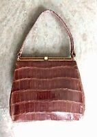 VTG Genuine Alligator Crocodile Skin Brown Kelly Clutch Handbag Purse