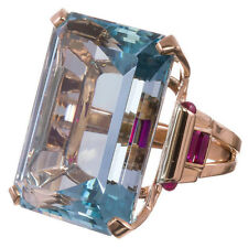 10.4CT Aquamarine 925 Silver Ring Men Women Rose Gold Filled Wedding Size 6-10