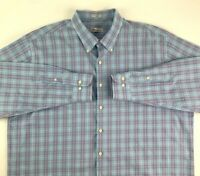 Peter Millar Mens Oxford Shirt Multicolor Blue Glen Check Plaid Long Sleeve XXL