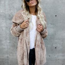 Damen Winterjacke Plüsch Mantel Weich Parka Trench Coat Kapezenpullover Sweater