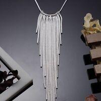 ASAMO Damen Halskette mit Fäden Collier 925 Sterling Silber plattiert HA1026