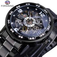 FORSINING Herren Armbanduhr Luxus Edelstahl Skelett Uhr Mechanisch Handaufzug