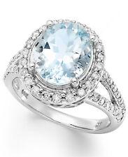 14k White Gold Ring, Aquamarine (3-1/4 ct. t.w.) and Diamond Oval Ring