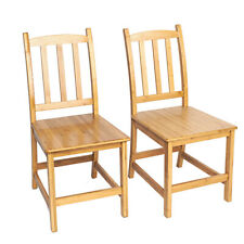 Set of 2 Dining Side Chairs kitchen Living Room Bamboo Furniture Wood Modern Us
